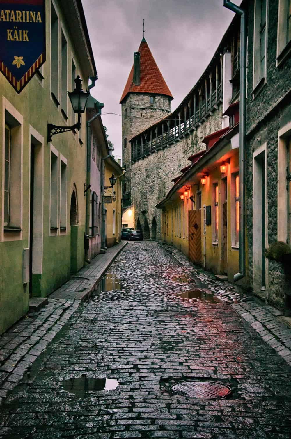 Watchtower Overlooking Alley in Old Town Tallinn, Estonia