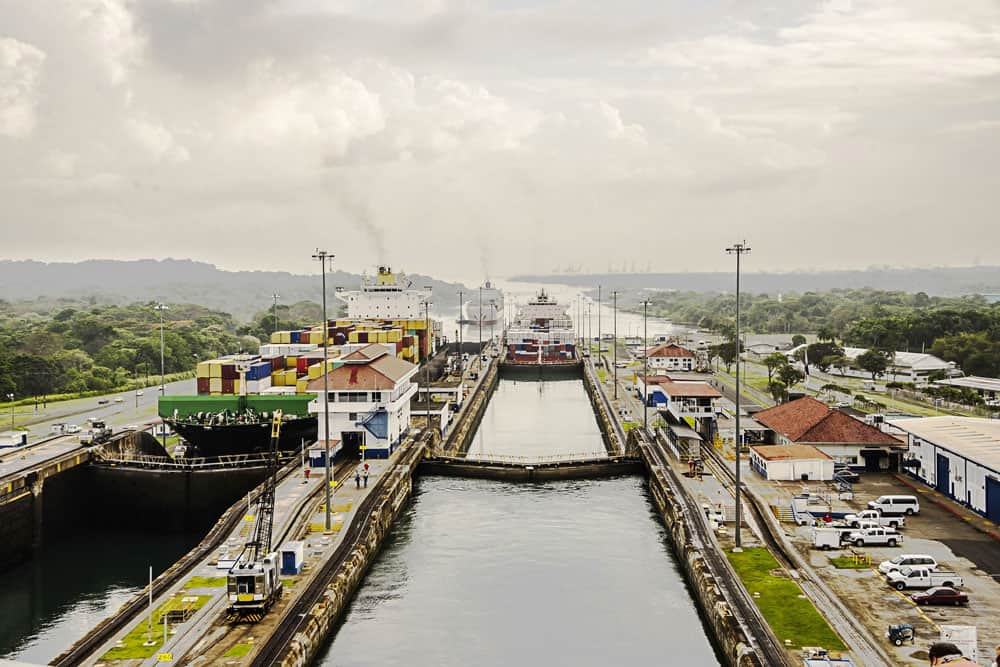 View of Panama Canal, Panama City, Panama