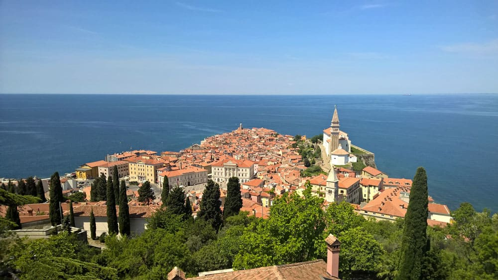 Panorama of Old Town Piran, Slovenia