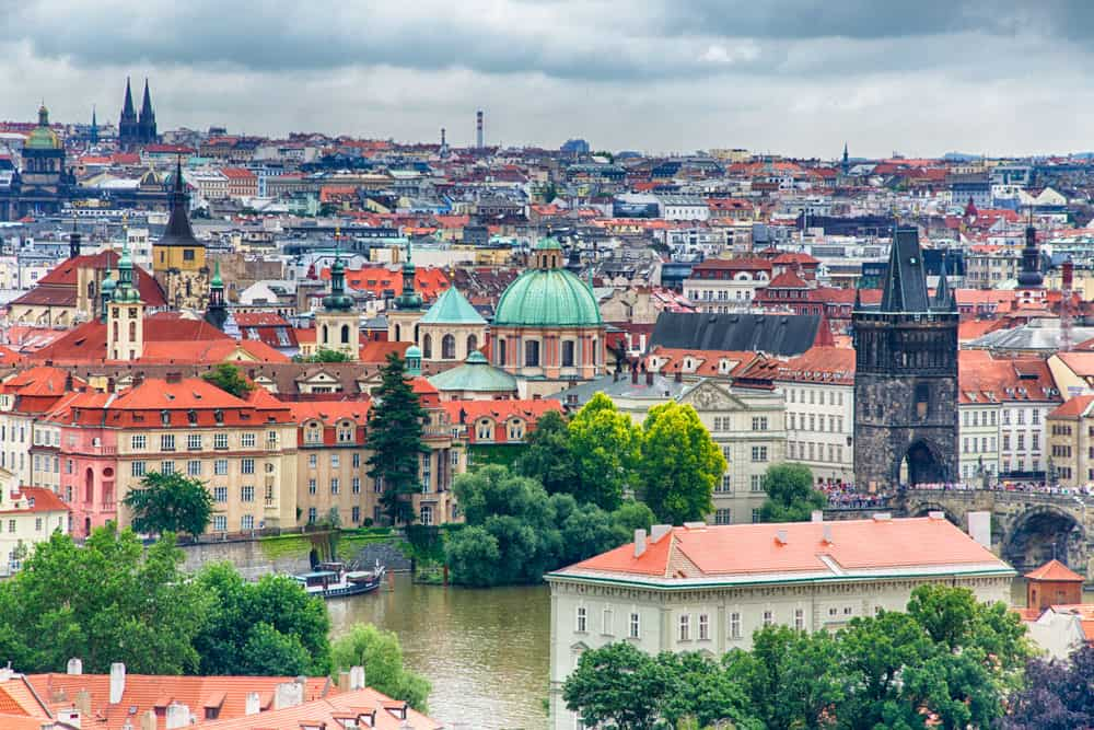 Panorama of Old Town Prague from Prague Castle