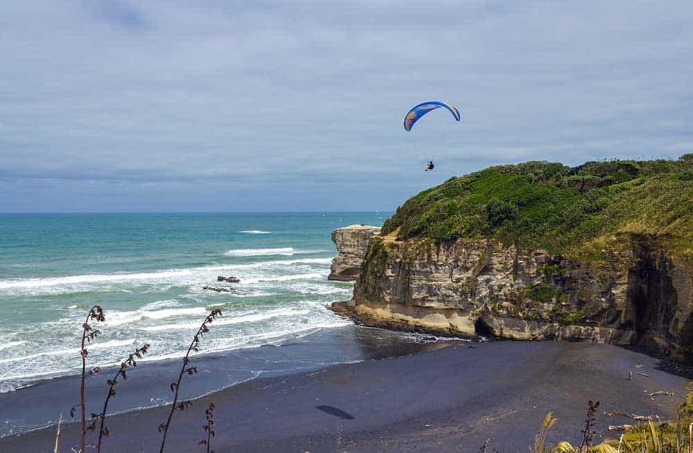 Paragliding on Maori Bay