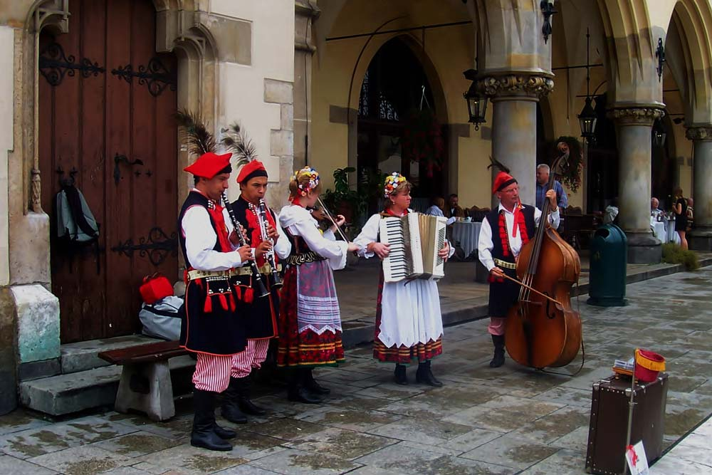 Polish musicians in Market Square, Krakow