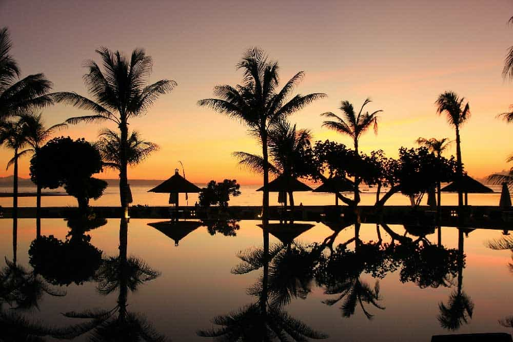 Sunset by Pool in Bali, Indonesia