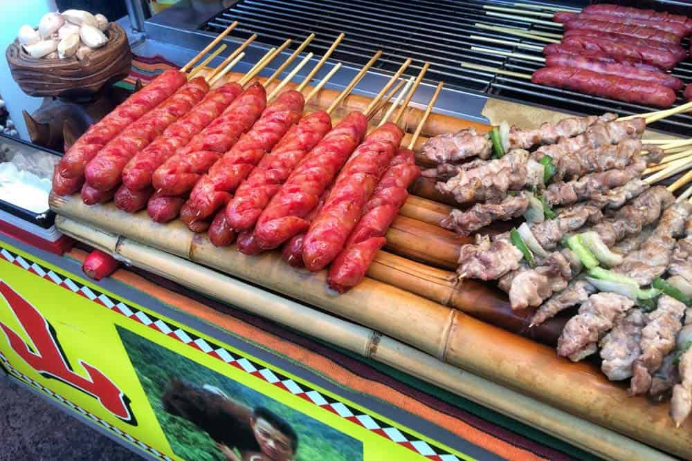 Pork sausages at Tonghua Night Market in Taipei, Taiwan