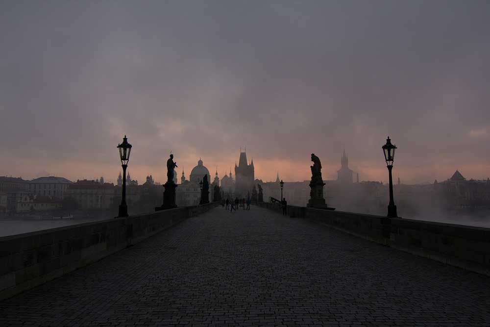 Mist over Charles Bridge in Prague, Czech Republic