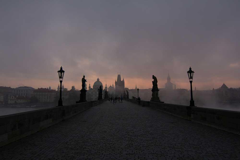 Mist over Charles Bridge in Prague