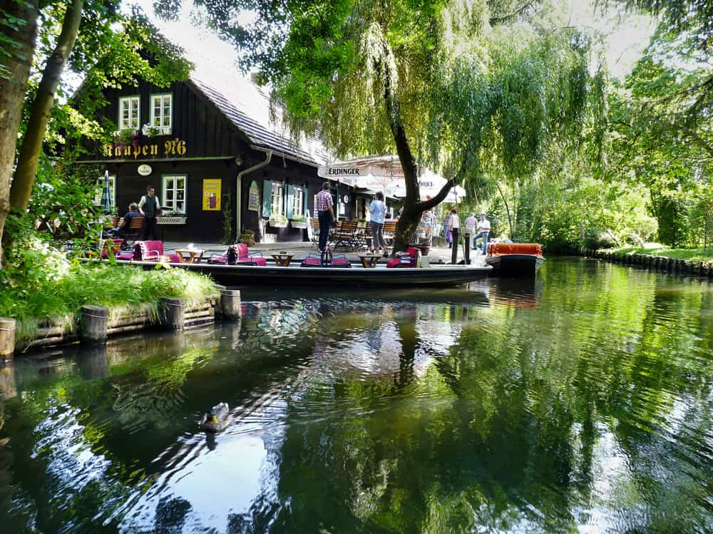 Rowing along the river in Lehde, Spreewald, Germany