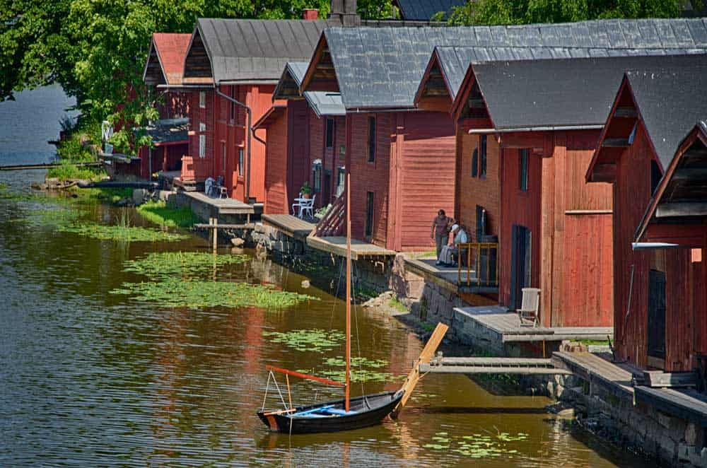 Riverside houses in Porvoo, Finland