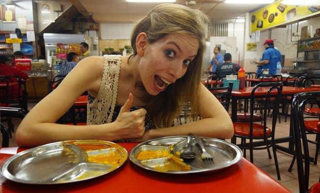 Audrey eating Roti Canai in Kuala Lumpur, Malaysia