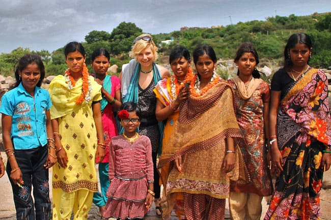 Sabrina with new friends in India