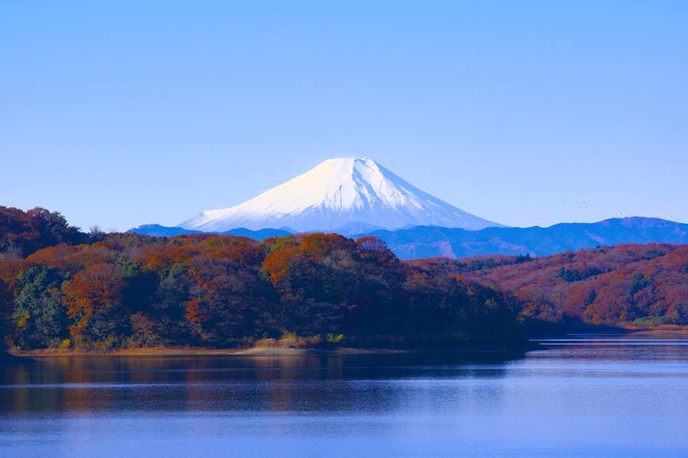 Mt. Fuji overlooking Sayama Lake