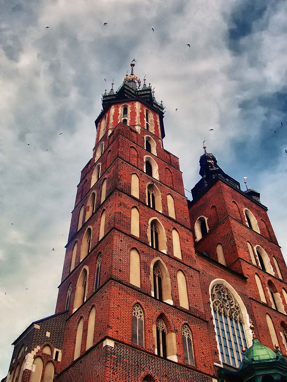 Tower at St. Mary's Basilica in Krakow, Poland