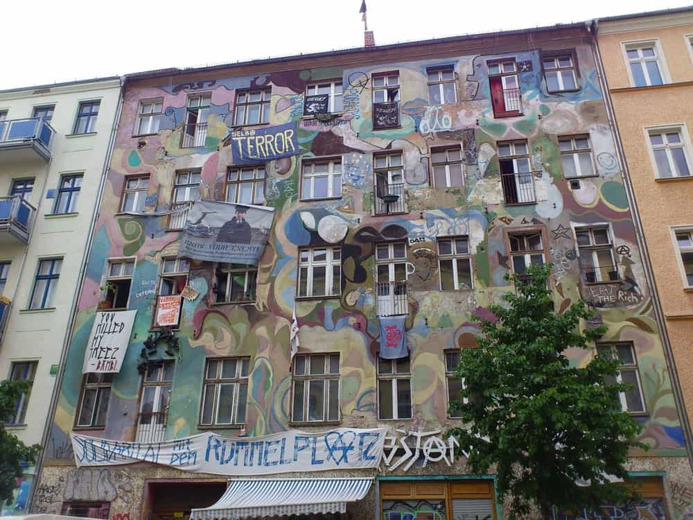 Street Art on Building in Kreuzberg-Friedrichshain, Berlin, Germany
