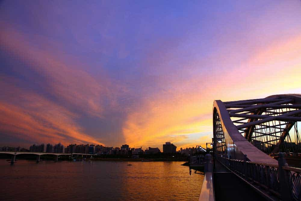 Sunset over Han River in Seoul, South Korea