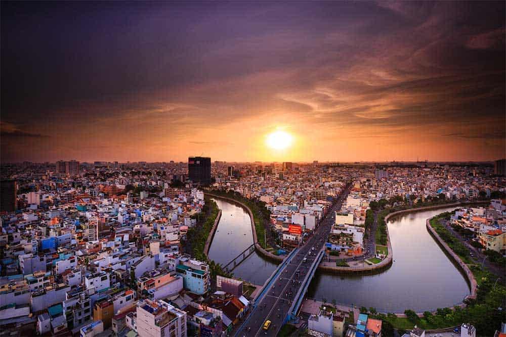 Sunset in Ho Chi Minh City, Vietnam