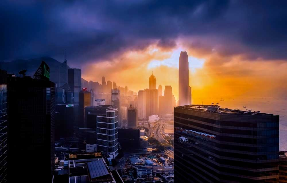 Sunset over Hong Kong
