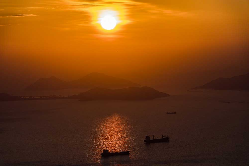 Sunset over Sea in Hong Kong