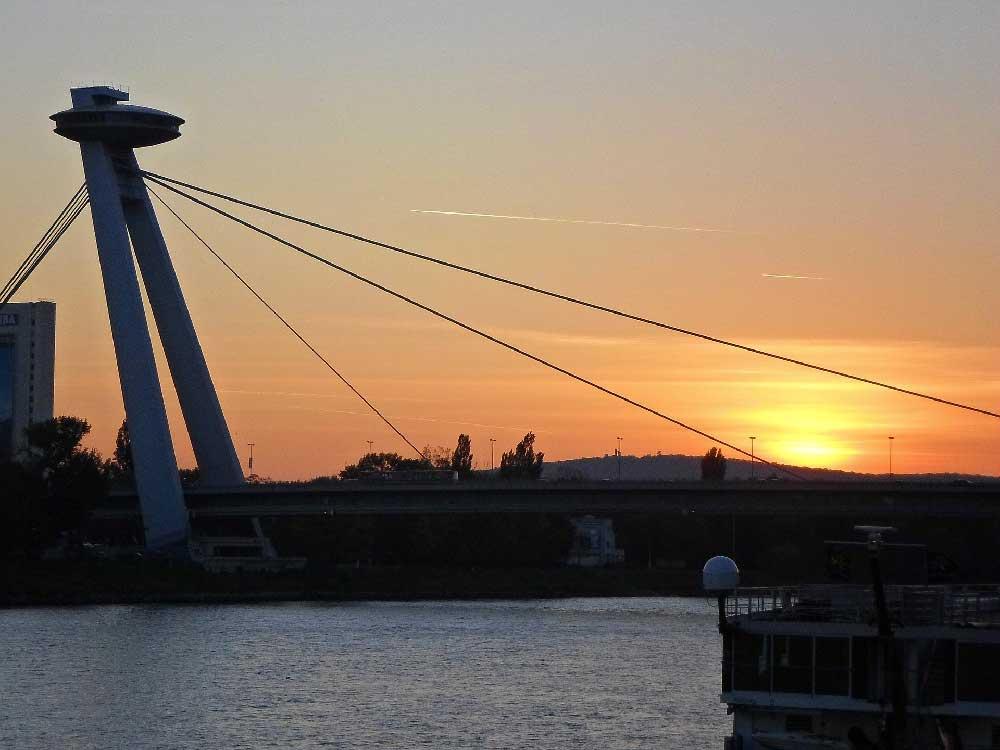Sunset @ SNP Bridge in Bratislava, Slovakia