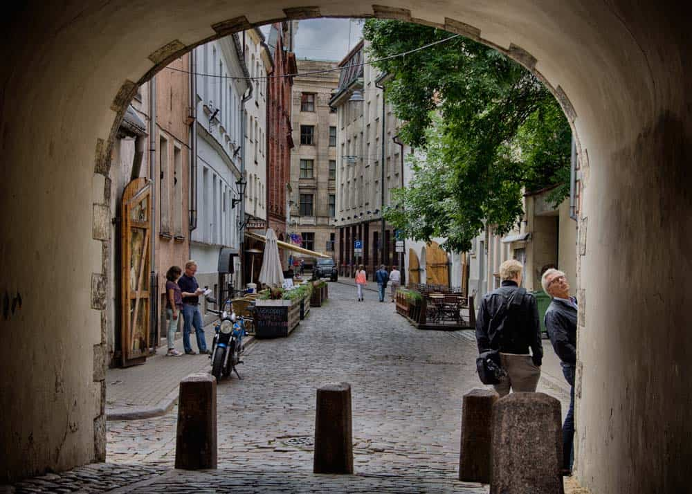 Swedish Gate in Old Town Riga, Latvia
