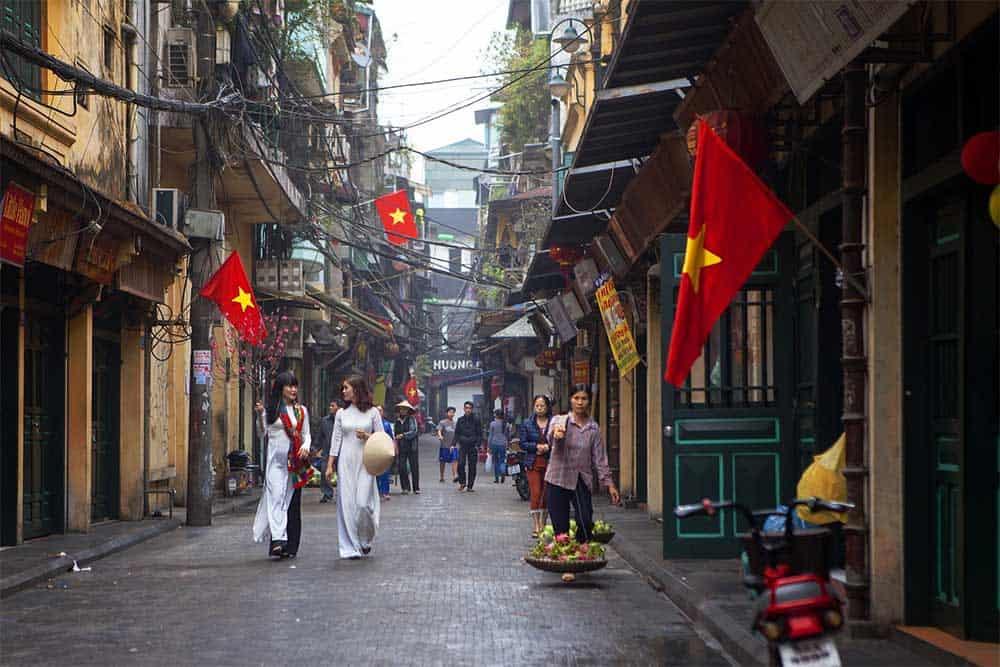 Ta Hien Street in Hanoi, Vietnam