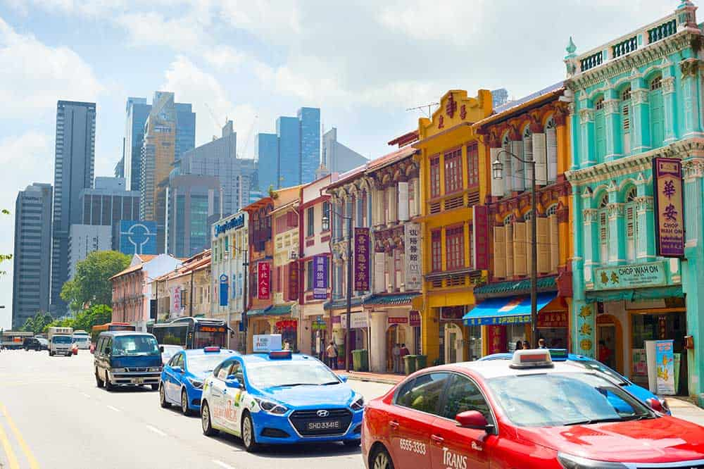Taxis in Chinatown Singapore