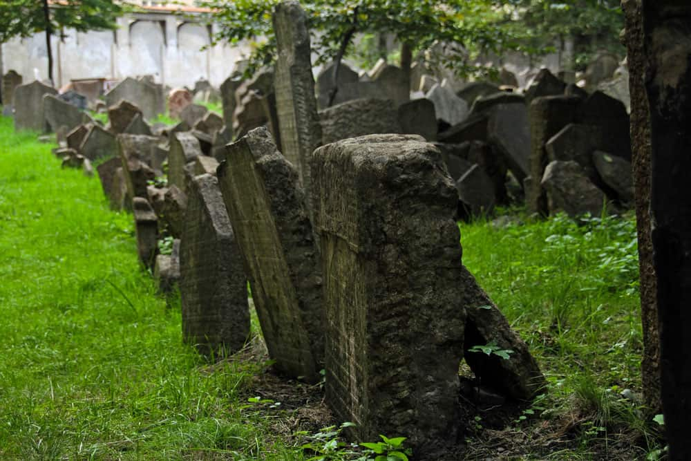 Tombstones in the Old Jewish Cemetery in Prague, Czech Republic