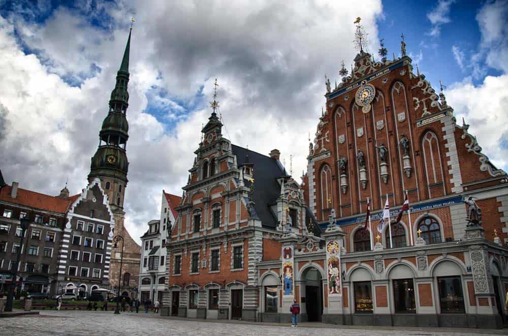 Town Hall Square in Old Town Riga, Latvia