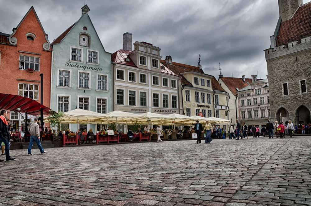 Town Hall Square in Old Town Tallinn, Estonia