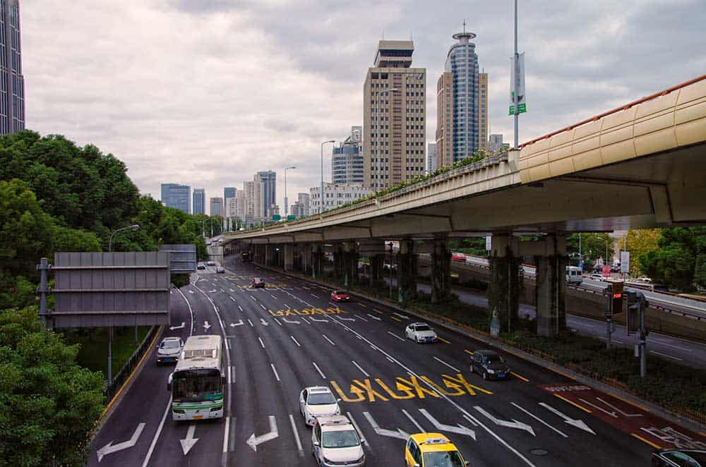 Traffic on Highway in Shanghai