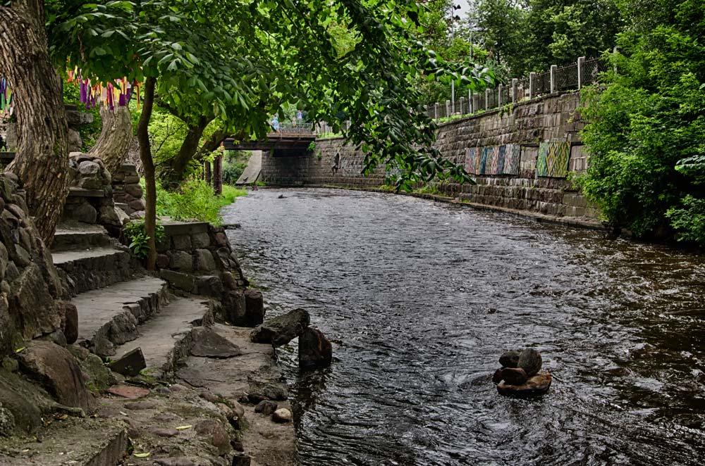 The Vilnia River Through Užupis Republic, Vilnius, Lithuania