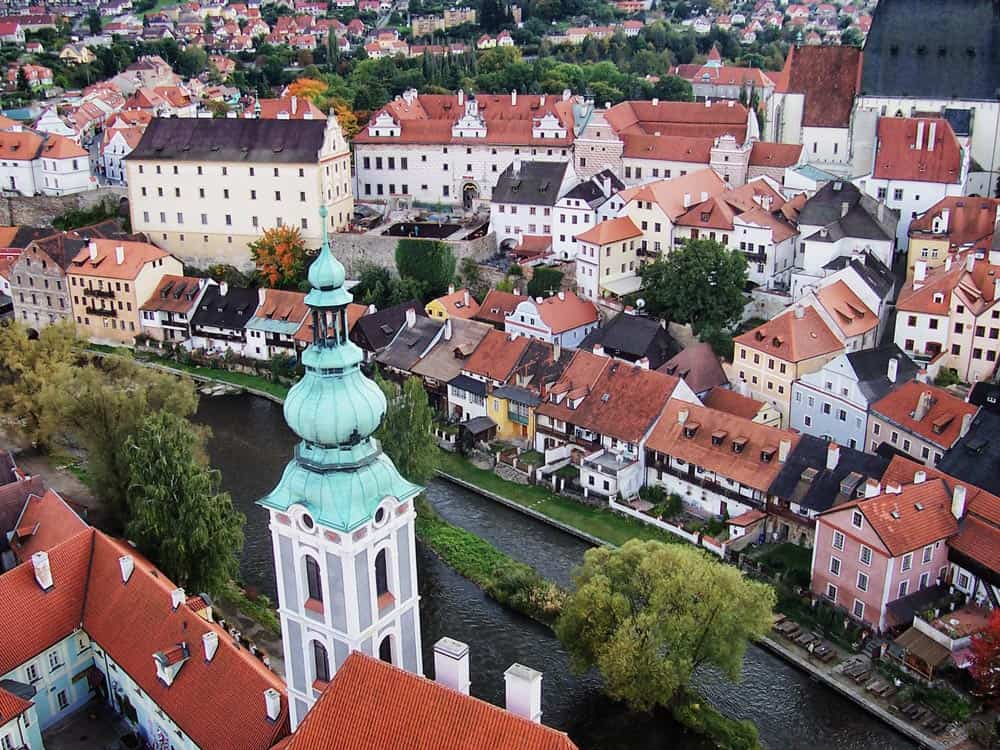 View from Cesky Krumlov Castle in Cesky Krumlov, Czech Republic