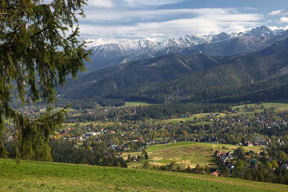 View over High Tatras and Zakopane, Poland