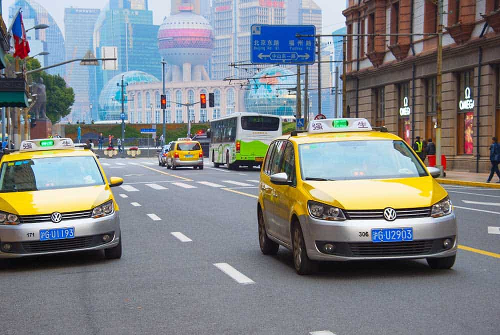 Yellow Taxis in Shanghai